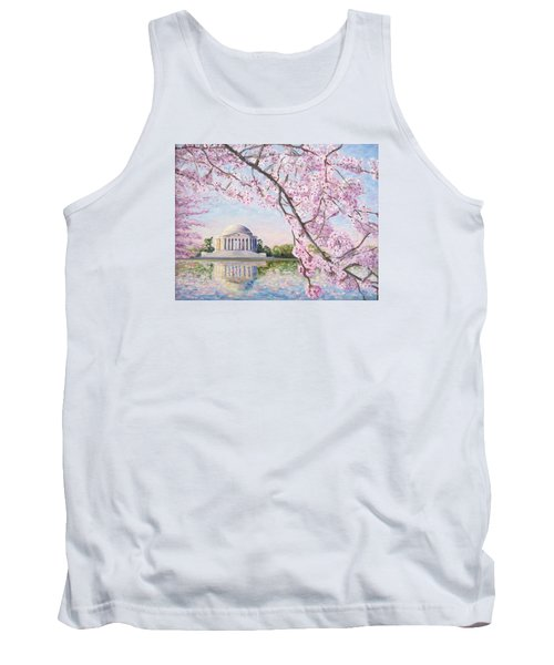 Jefferson Memorial Cherry Blossoms Tank Top by Patty Kay Hall