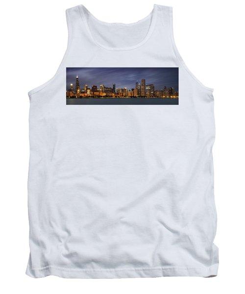 Chicago Skyline At Night Color Panoramic Tank Top by Adam Romanowicz