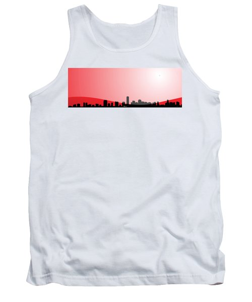 Cityscapes - Miami Skyline In Black On Red Tank Top by Serge Averbukh