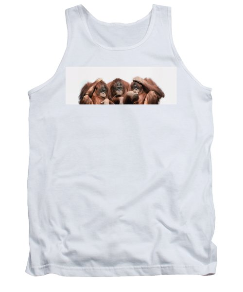 Close-up Of Three Orangutans Tank Top by Panoramic Images