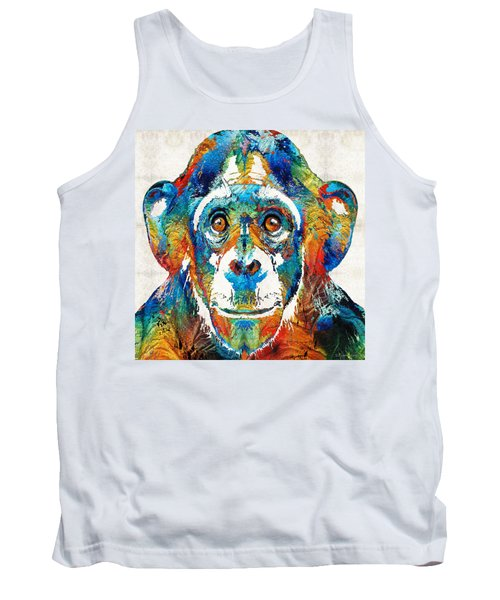 Colorful Chimp Art - Monkey Business - By Sharon Cummings Tank Top by Sharon Cummings