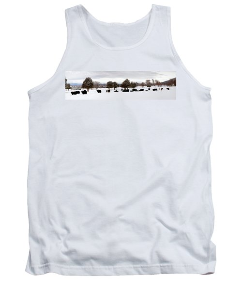 Herd Of Yaks Bos Grunniens On Snow Tank Top by Panoramic Images