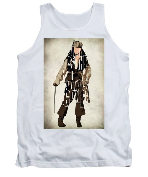 Jack Sparrow Inspired Pirates Of The Caribbean Typographic Poster Tank Top by Ayse Deniz