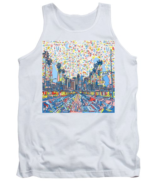 Los Angeles Skyline Abstract 3 Tank Top by Bekim Art