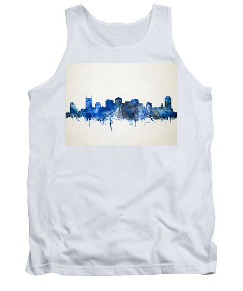 Nashville Skyline Watercolor 11 Tank Top by Bekim Art
