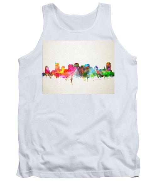 Nashville Skyline Watercolor 9 Tank Top by Bekim Art