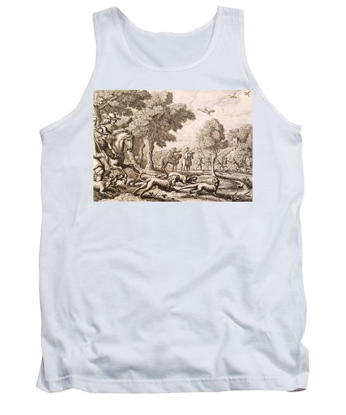 Otter Hunting By A River, Engraved Tank Top by Francis Barlow