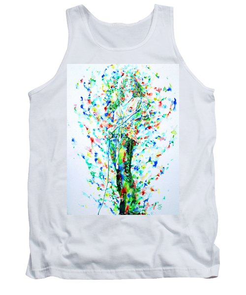 Robert Plant Singing - Watercolor Portrait Tank Top by Fabrizio Cassetta