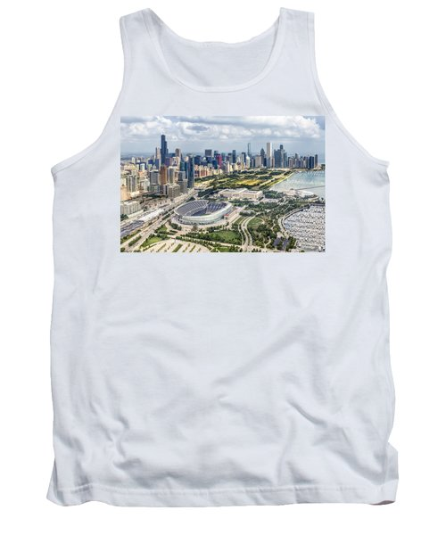 Soldier Field And Chicago Skyline Tank Top by Adam Romanowicz