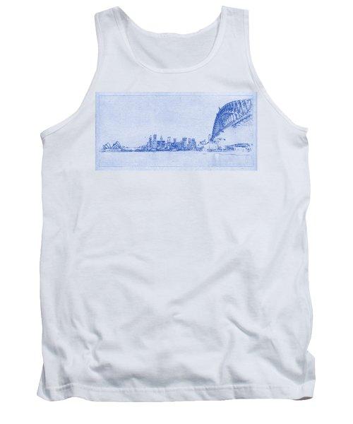 Sydney Skyline Blueprint Tank Top by Kaleidoscopik Photography