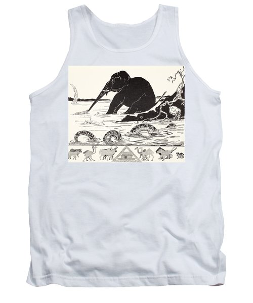 The Elephant's Child Having His Nose Pulled By The Crocodile Tank Top by Joseph Rudyard Kipling