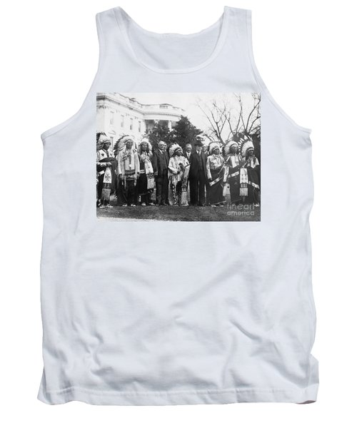 Coolidge With Native Americans Tank Top by Photo Researchers