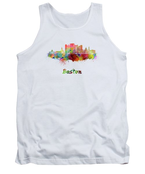 Boston Skyline In Watercolor Tank Top by Pablo Romero