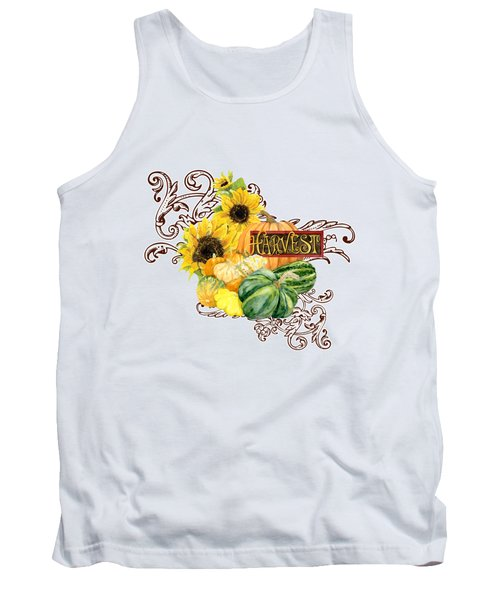 Celebrate Abundance - Harvest Fall Pumpkins Squash N Sunflowers Tank Top by Audrey Jeanne Roberts