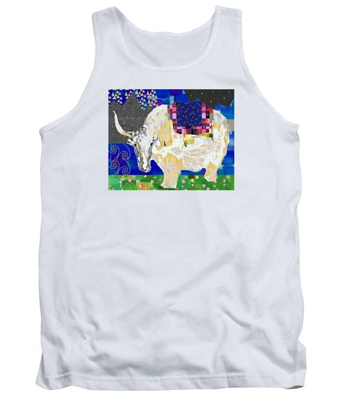 Stay Curious Cow Collage  Tank Top by Claudia Schoen