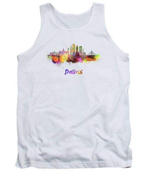 Dallas Skyline In Watercolor Tank Top by Pablo Romero
