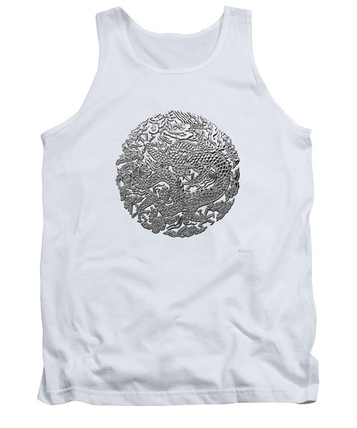 Sliver Chinese Dragon On White Leather Tank Top by Serge Averbukh