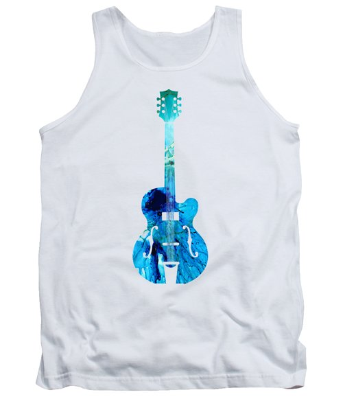 Vintage Guitar 2 - Colorful Abstract Musical Instrument Tank Top by Sharon Cummings
