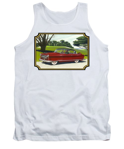1953 Nash Rambler Car Americana Rustic Rural Country Auto Antique Painting Red Golf Tank Top by Walt Curlee