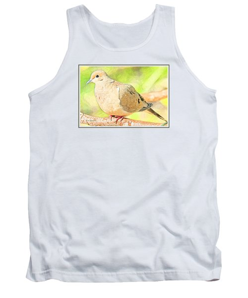 Tank Top featuring the digital art Mourning Dove Animal Portrait by A Gurmankin