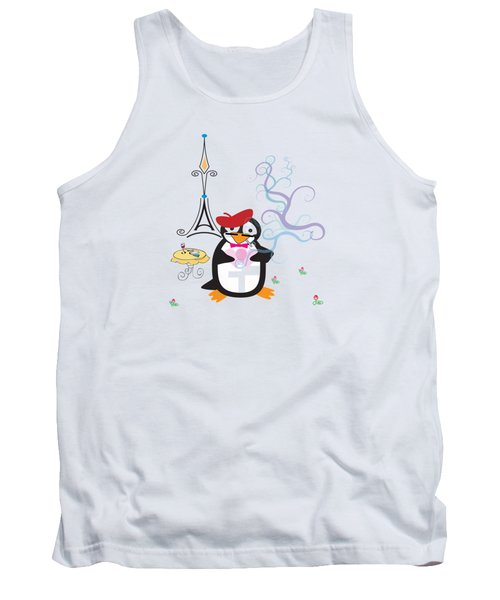A Penguin In Paris Tank Top by Jane E Rankin