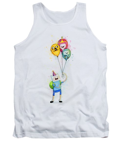 Adventure Time Finn With Birthday Balloons Jake Princess Bubblegum Bmo Tank Top by Olga Shvartsur