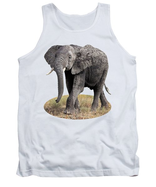 African Elephant Happy And Free Tank Top by Gill Billington