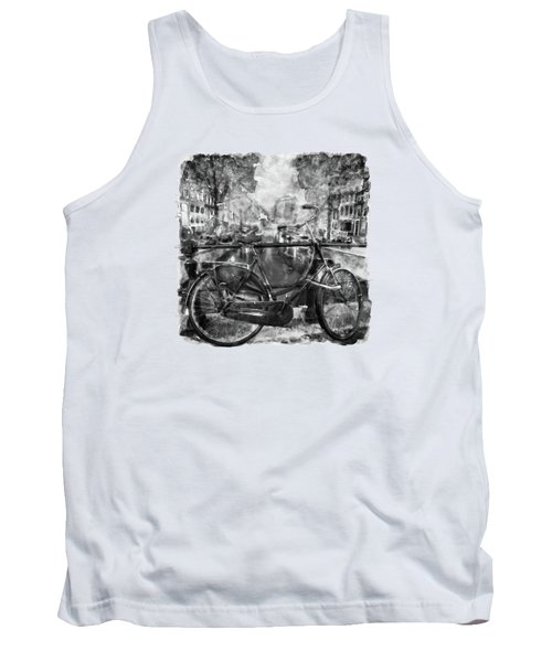 Amsterdam Bicycle Black And White Tank Top by Marian Voicu