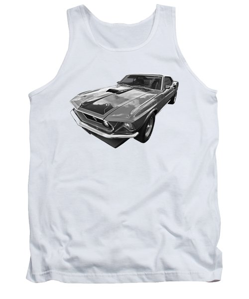 428 Cobra Jet Mach1 Ford Mustang 1969 In Black And White Tank Top by Gill Billington