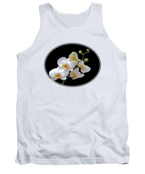 White Orchids On Ocean Blue Tank Top by Gill Billington