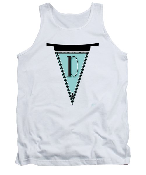 Pennant Deco Blues Banner Initial Letter D Tank Top by Cecely Bloom