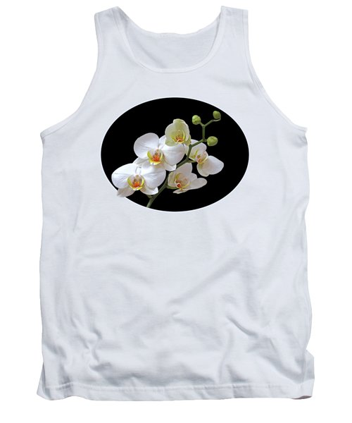 Orchids On Black And Gold Tank Top by Gill Billington