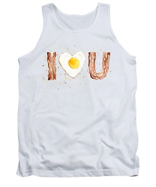 Bacon And Egg I Heart You Watercolor Tank Top by Olga Shvartsur