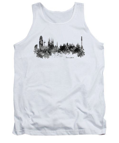 Barcelona Black And White Watercolor Skyline Tank Top by Marian Voicu