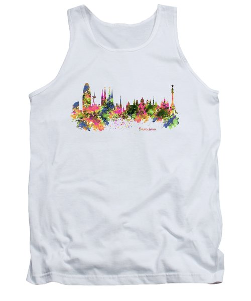 Barcelona Watercolor Skyline Tank Top by Marian Voicu