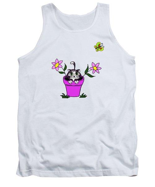 Big Eyed Kitten In Flower Pot Tank Top by Lorraine Kelly