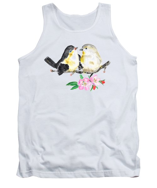 Birds And Apple Blossom Tank Top by Color Color