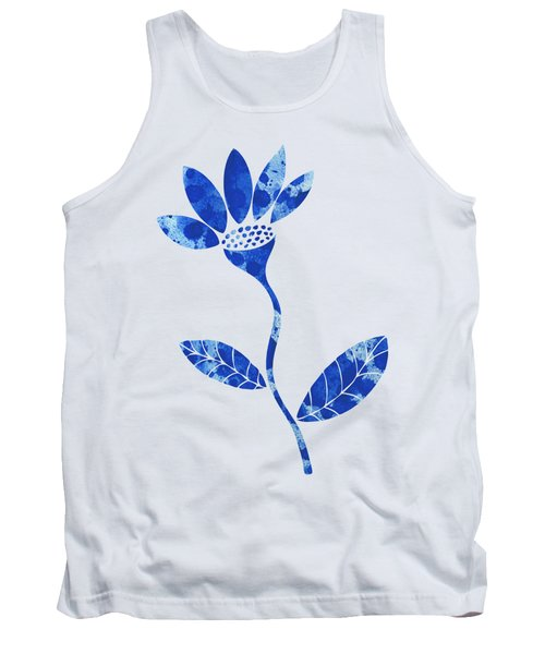 Blue Flower Tank Top by Frank Tschakert