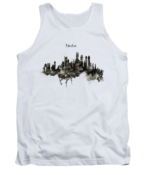 Boston Skyline Black And White Tank Top by Marian Voicu