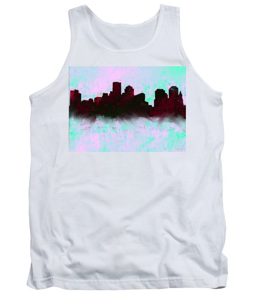 Boston Skyline Sky Blue  Tank Top by Enki Art