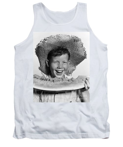 Boy Eating Watermelon, C.1940-50s Tank Top by H. Armstrong Roberts/ClassicStock