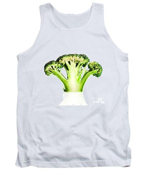 Broccoli Cutaway On White Tank Top by Johan Swanepoel