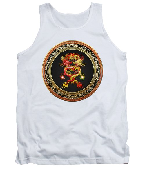 Brotherhood Of The Snake - The Red And The Yellow Dragons On White Leather Tank Top by Serge Averbukh