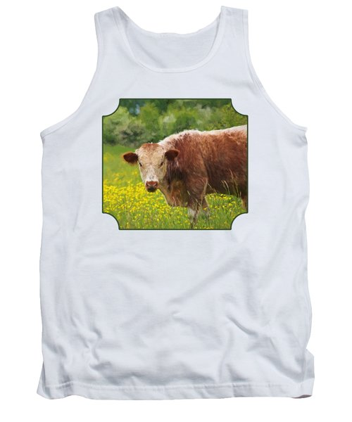 Buttercup - Brown Cow Tank Top by Gill Billington