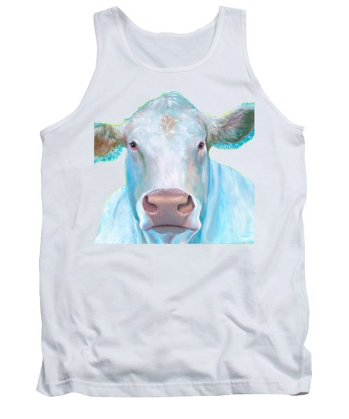 Charolais Cow Painting On White Background Tank Top by Jan Matson
