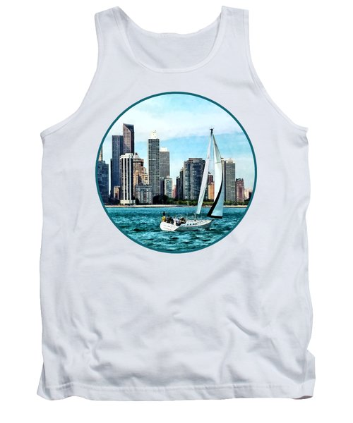 Chicago Il - Sailboat Against Chicago Skyline Tank Top by Susan Savad