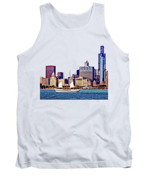 Chicago Il - Schooner Against Chicago Skyline Tank Top by Susan Savad