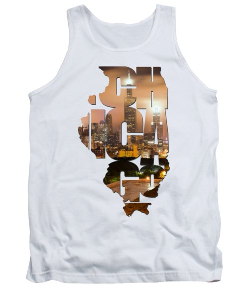 Chicago Illinois Typography - Chicago Skyline From The Rooftop Tank Top by Gregory Ballos
