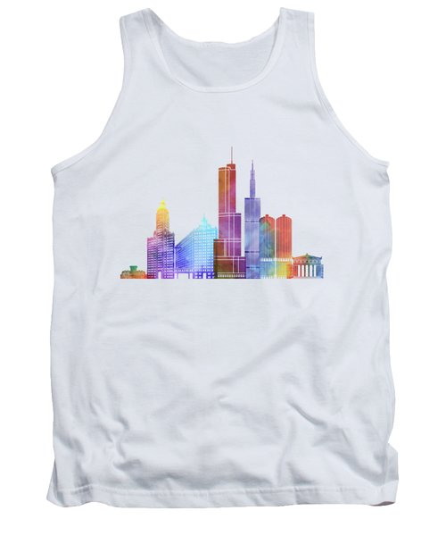 Chicago Landmarks Watercolor Poster Tank Top by Pablo Romero