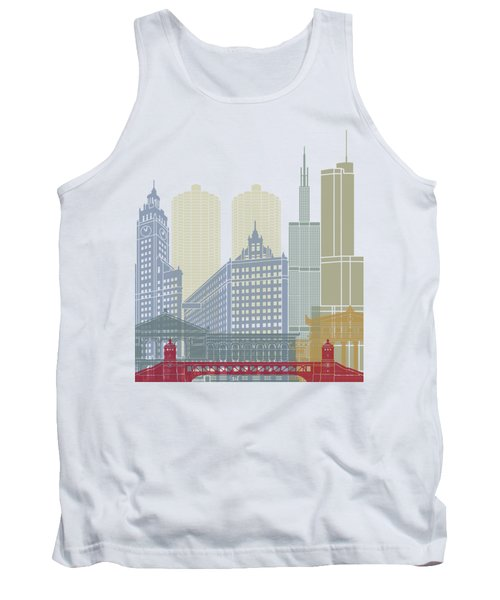 Chicago Skyline Poster Tank Top by Pablo Romero